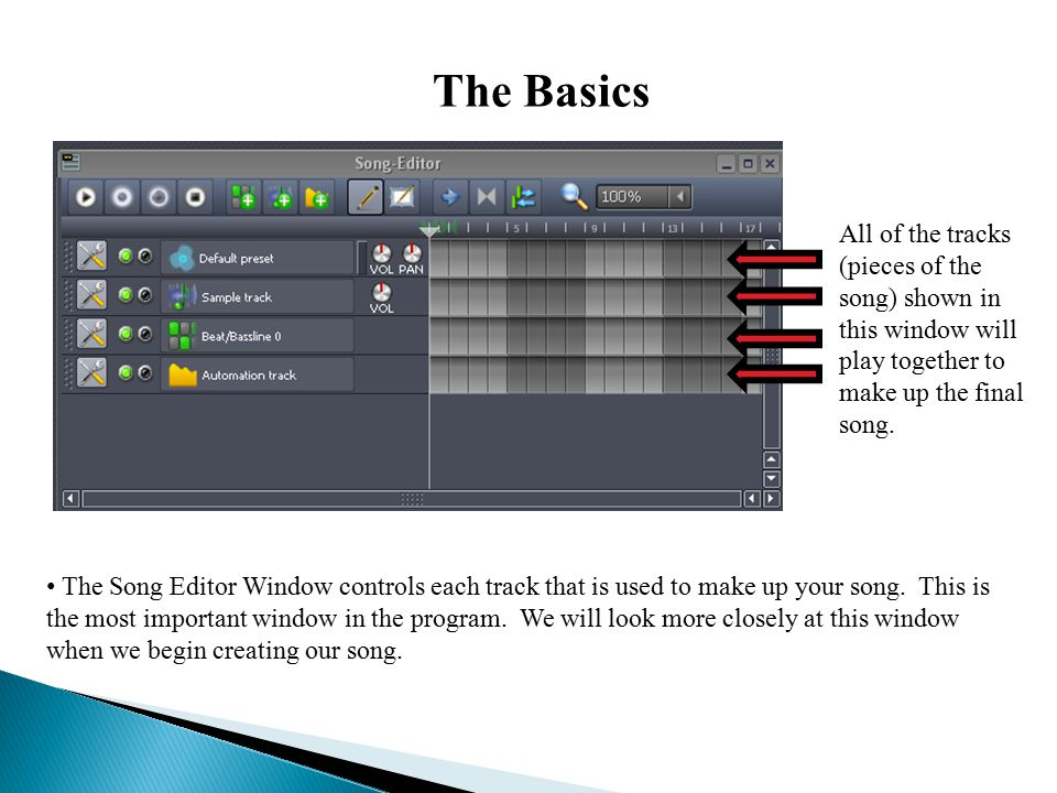The Basics The Song Editor Window controls each track that is used to make up your song.