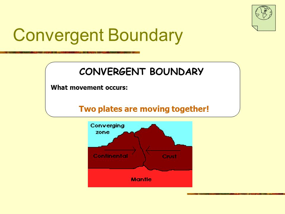 Convergent Boundary CONVERGENT BOUNDARY What movement occurs: Two plates are moving together!