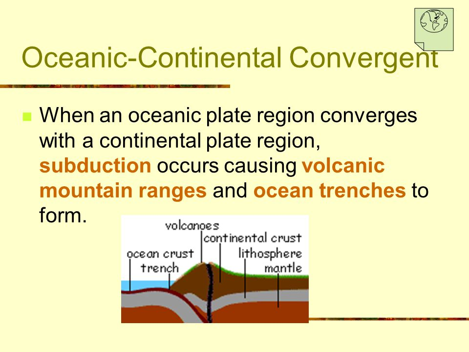 Oceanic-Continental Convergent When an oceanic plate region converges with a continental plate region, subduction occurs causing volcanic mountain ran