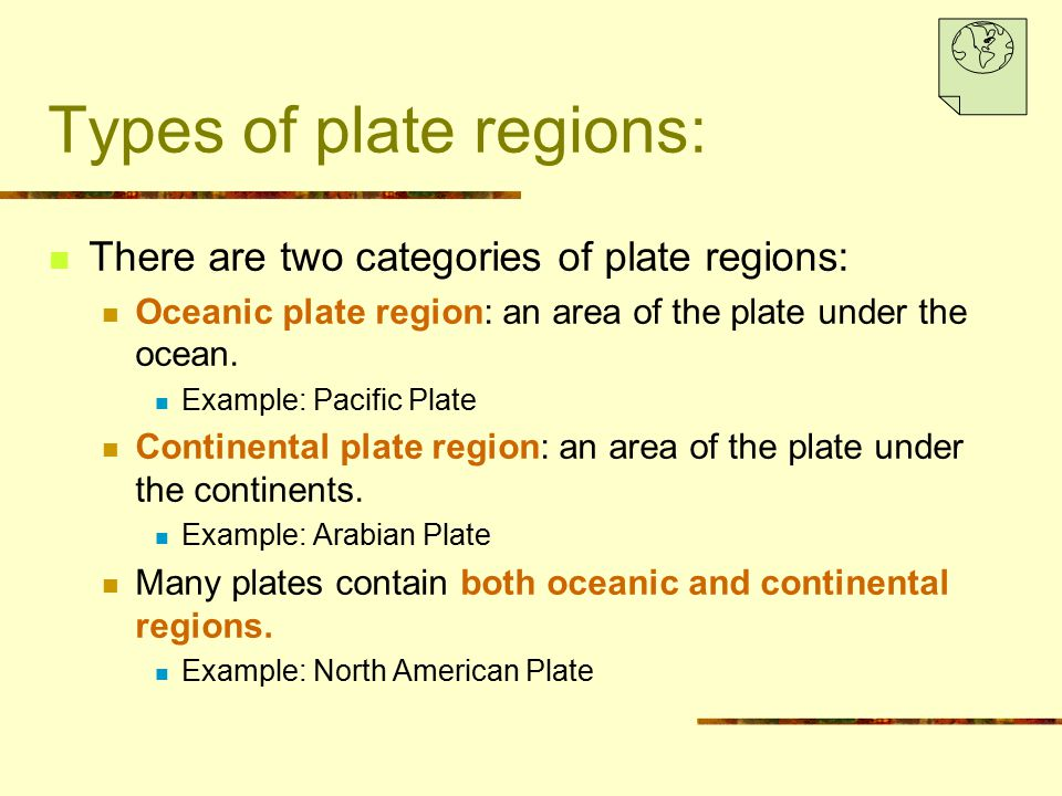 Types of plate regions: There are two categories of plate regions: Oceanic plate region: an area of the plate under the ocean. Example: Pacific Plate