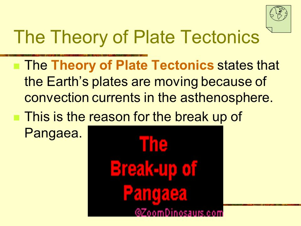 The Theory of Plate Tectonics The Theory of Plate Tectonics states that the Earth's plates are moving because of convection currents in the asthenosph