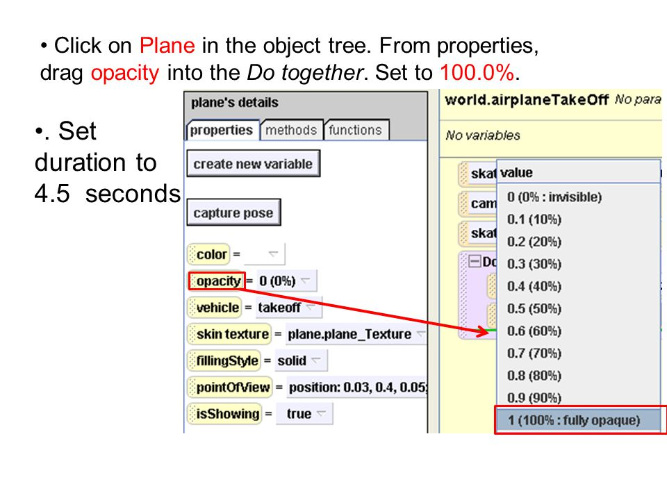 Click on Plane in the object tree. From properties, drag opacity into the Do together.