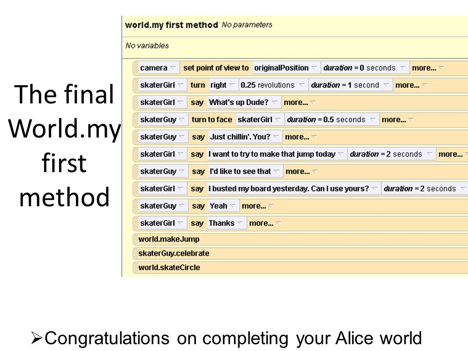 The final World.my first method  Congratulations on completing your Alice world