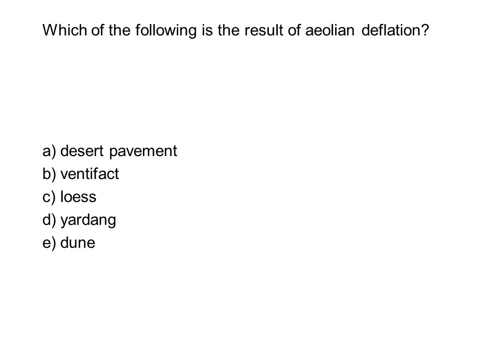 Which of the following is the result of aeolian deflation.