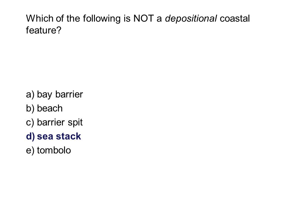 Which of the following is NOT a depositional coastal feature.