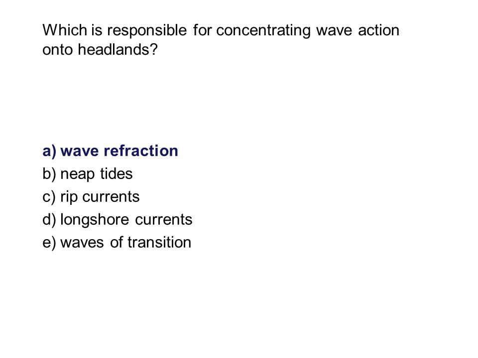 Which is responsible for concentrating wave action onto headlands.