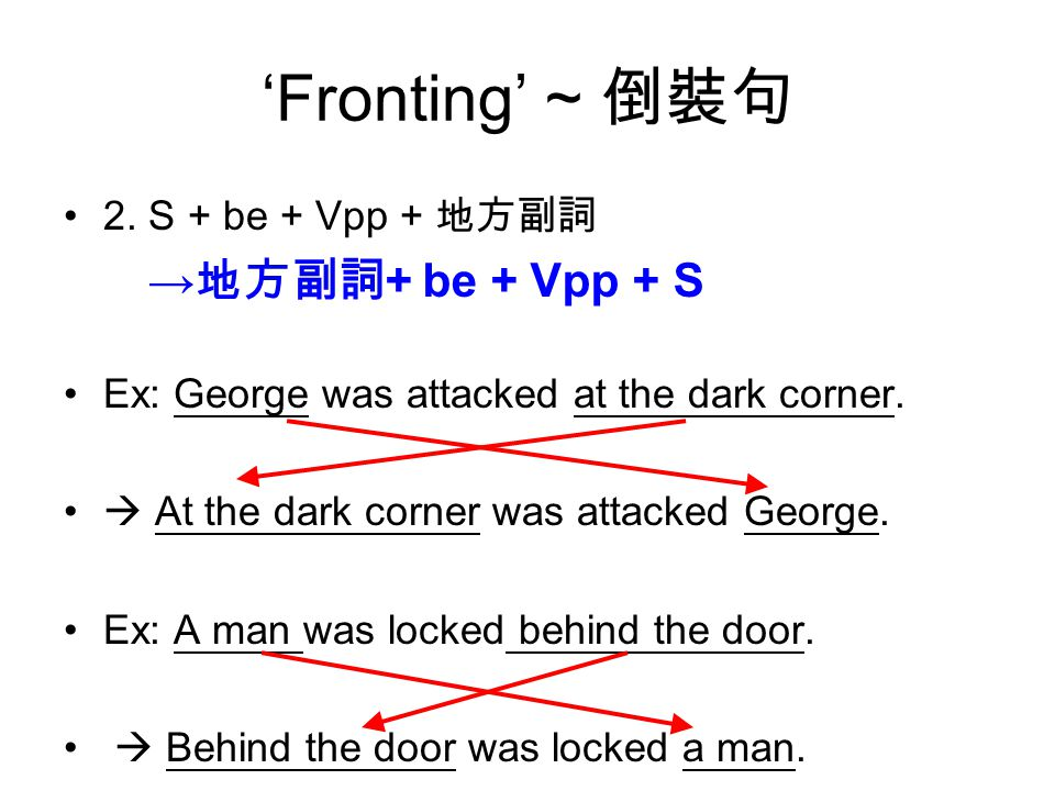 'Fronting' ~ 倒裝句 2. S + be + Vpp + 地方副詞 Ex: George was attacked at the dark corner.