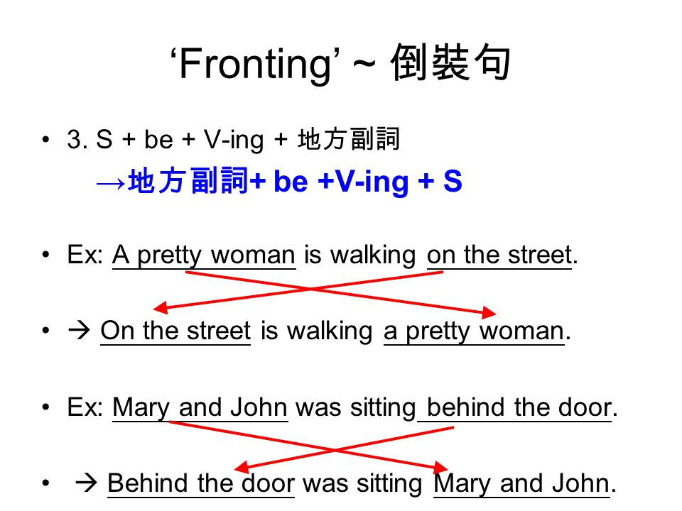 'Fronting' ~ 倒裝句 3. S + be + V-ing + 地方副詞 Ex: A pretty woman is walking on the street.
