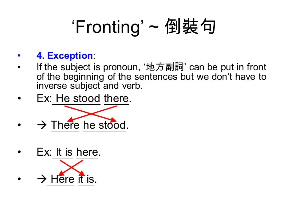 'Fronting' ~ 倒裝句 4.