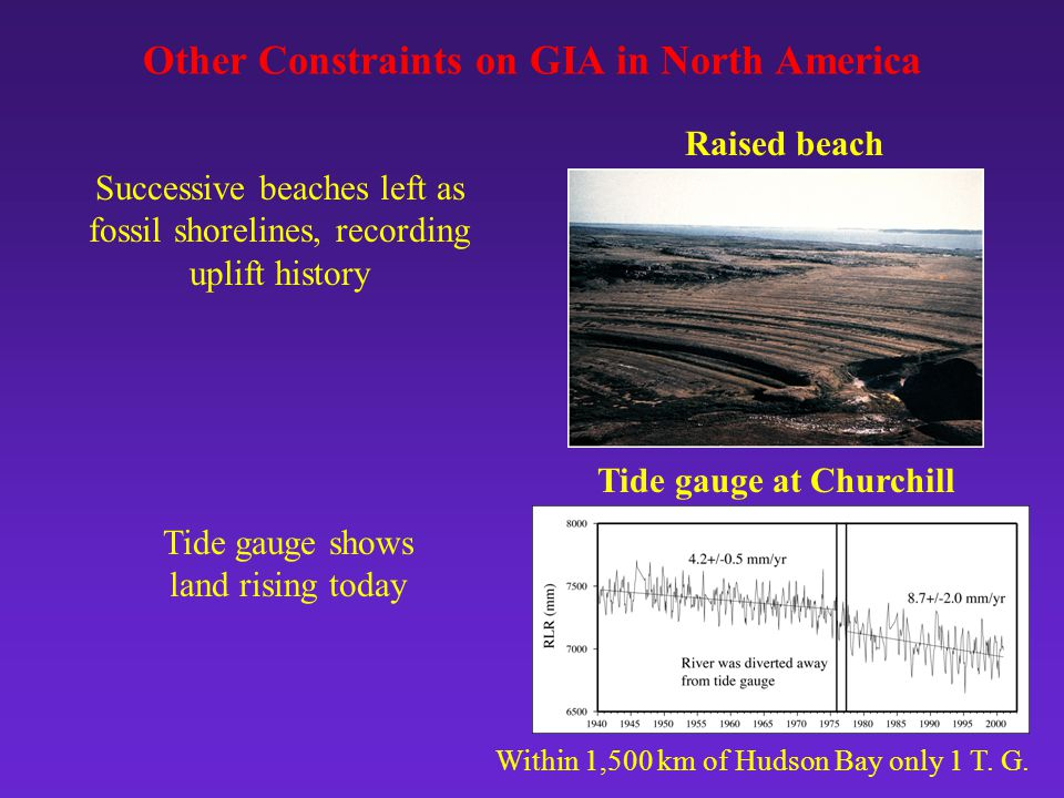 Raised beach Other Constraints on GIA in North America Tide gauge at Churchill Within 1,500 km of Hudson Bay only 1 T.