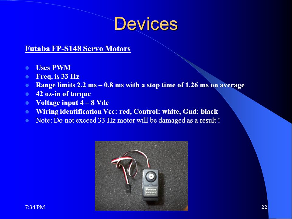 Devices Futaba FP-S148 Servo Motors Uses PWM Freq.