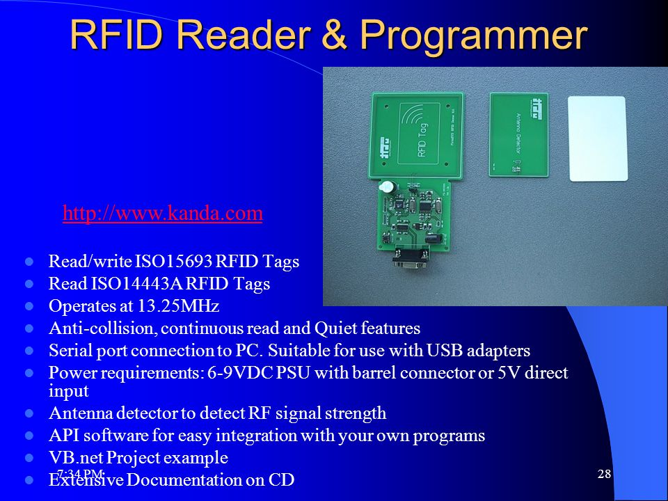 RFID Reader & Programmer Read/write ISO15693 RFID Tags Read ISO14443A RFID Tags Operates at 13.25MHz Anti-collision, continuous read and Quiet features Serial port connection to PC.
