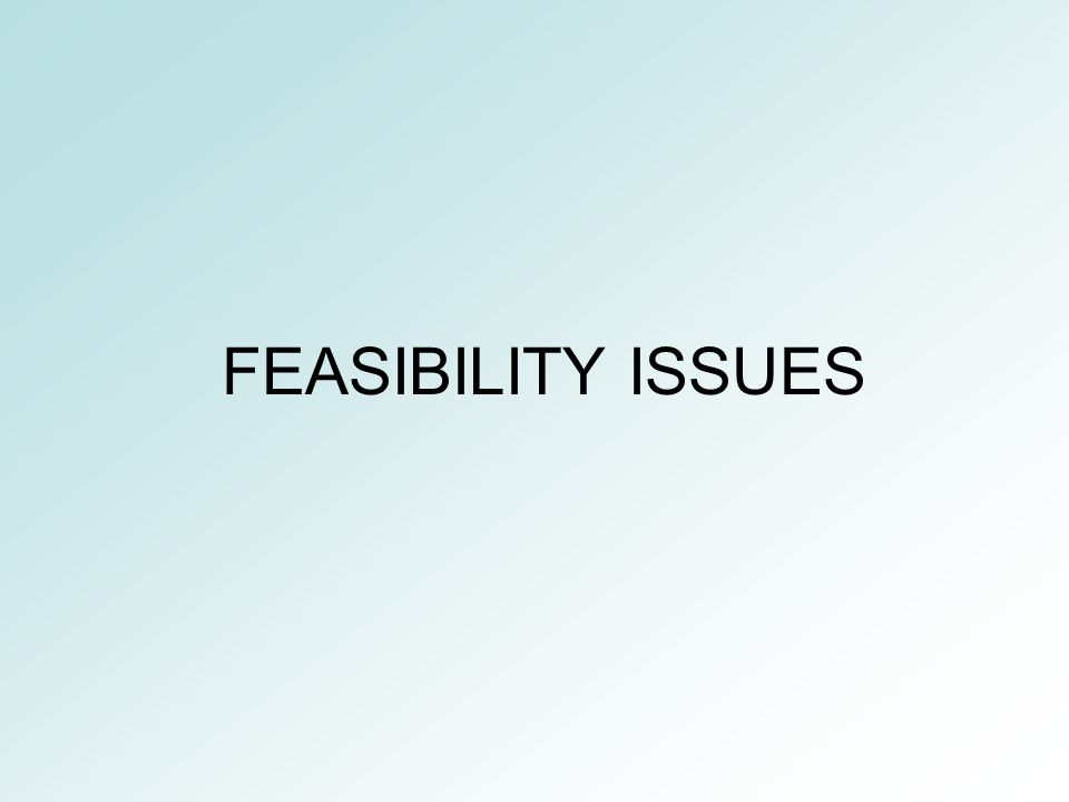 FEASIBILITY ISSUES