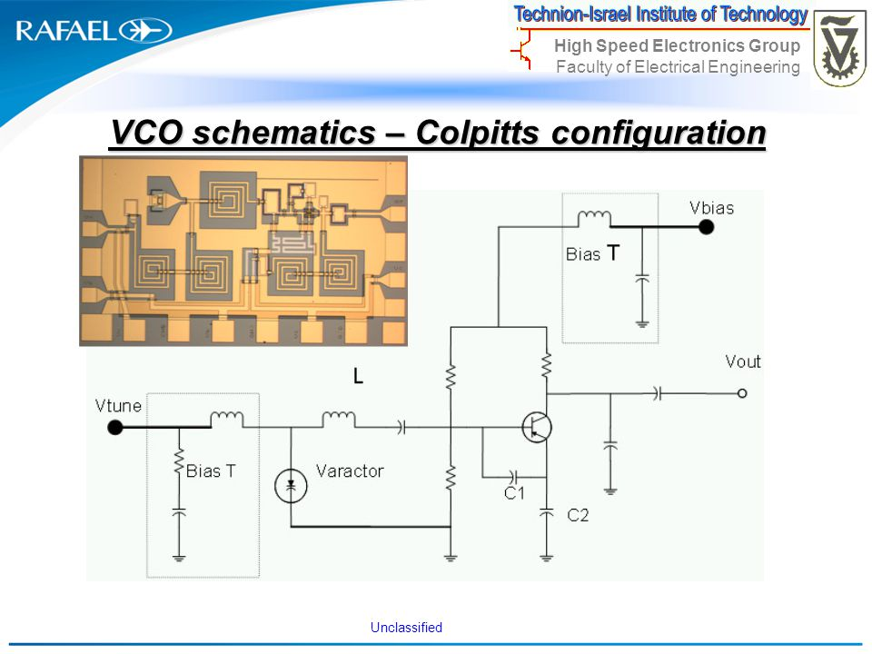 Unclassified High Speed Electronics Group Faculty of Electrical Engineering VCO schematics – Colpitts configuration