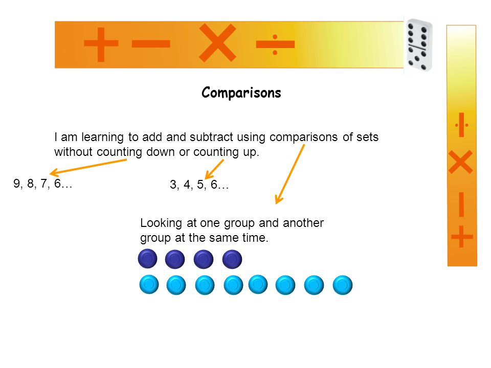 Comparisons I am learning to add and subtract using comparisons of sets without counting down or counting up.
