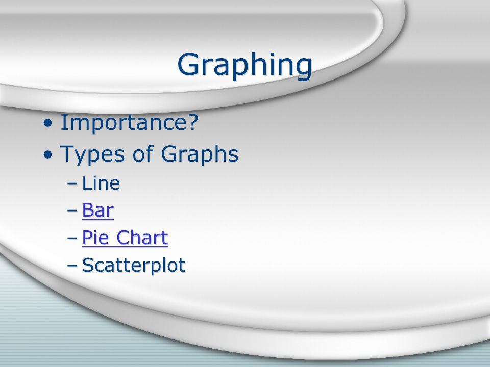 Graphing Importance. Types of Graphs –Line –BarBar –Pie ChartPie Chart –Scatterplot Importance.