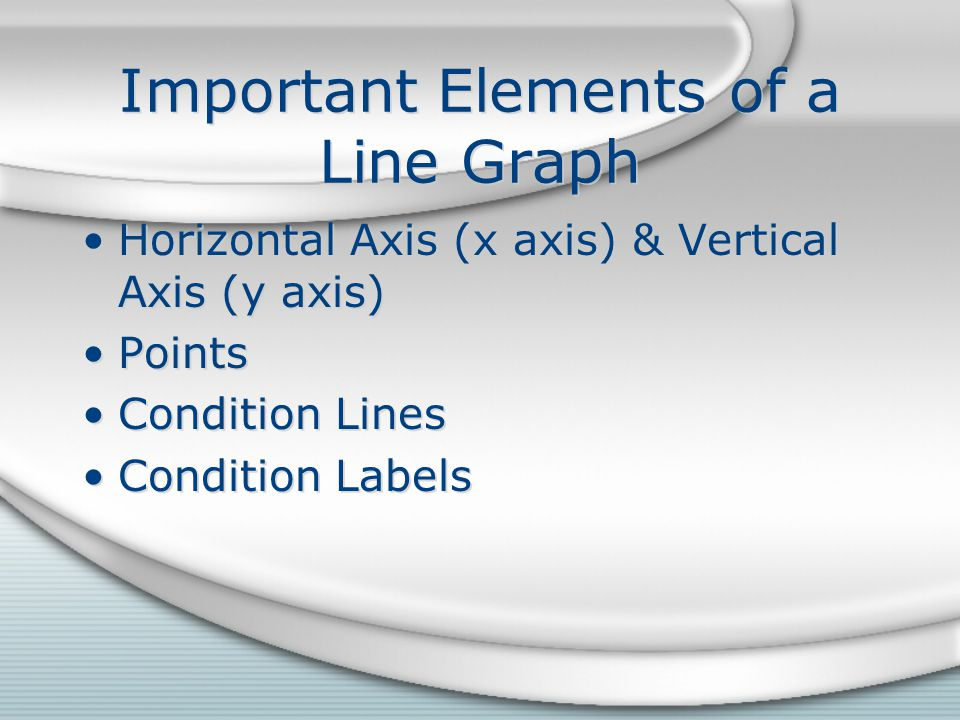 Important Elements of a Line Graph Horizontal Axis (x axis) & Vertical Axis (y axis) Points Condition Lines Condition Labels Horizontal Axis (x axis)