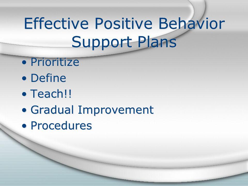 Effective Positive Behavior Support Plans Prioritize Define Teach!! Gradual Improvement Procedures Prioritize Define Teach!! Gradual Improvement Proce