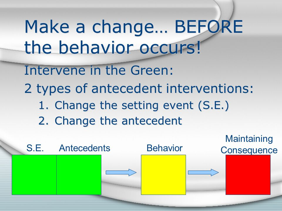 Make a change… BEFORE the behavior occurs.