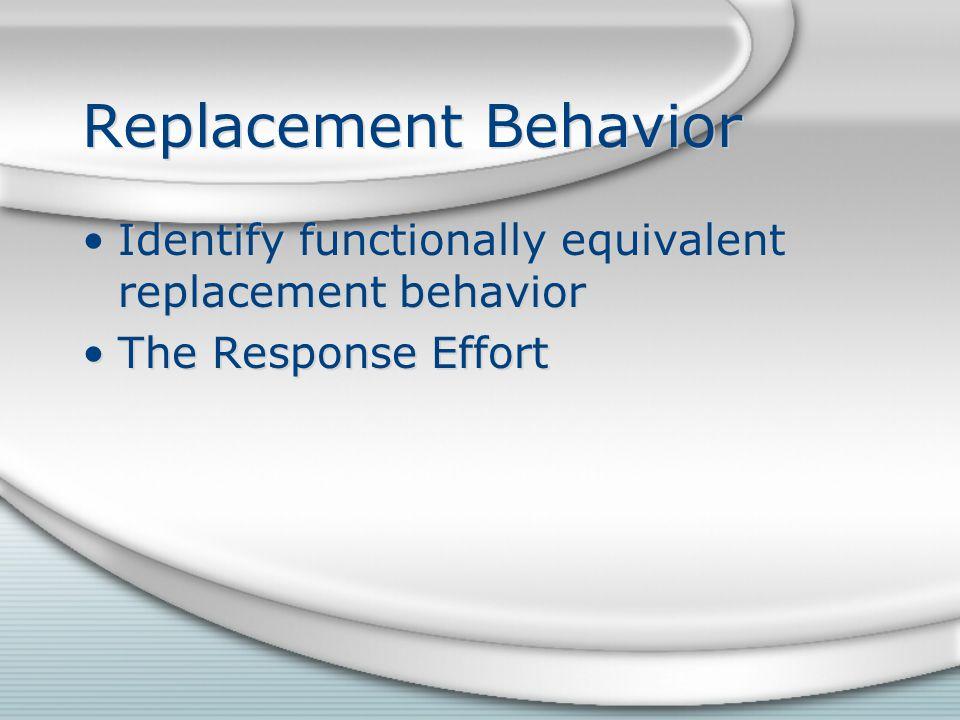 Replacement Behavior Identify functionally equivalent replacement behavior The Response Effort Identify functionally equivalent replacement behavior T
