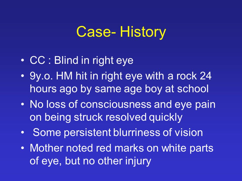Case- History 2 hours to presentation, pt developed headache, dizziness, and loss of vision in right eye.