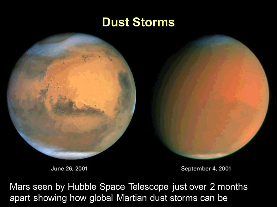 PTYS/ASTR 206Mars (cont.) 3/27/07 Dust Storms Mars seen by Hubble Space Telescope just over 2 months apart showing how global Martian dust storms can be