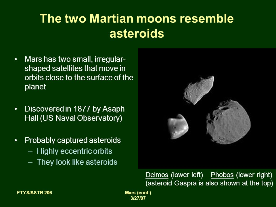 PTYS/ASTR 206Mars (cont.) 3/27/07 The two Martian moons resemble asteroids Mars has two small, irregular- shaped satellites that move in orbits close to the surface of the planet Discovered in 1877 by Asaph Hall (US Naval Observatory) Probably captured asteroids –Highly eccentric orbits –They look like asteroids Deimos (lower left) Phobos (lower right) (asteroid Gaspra is also shown at the top)
