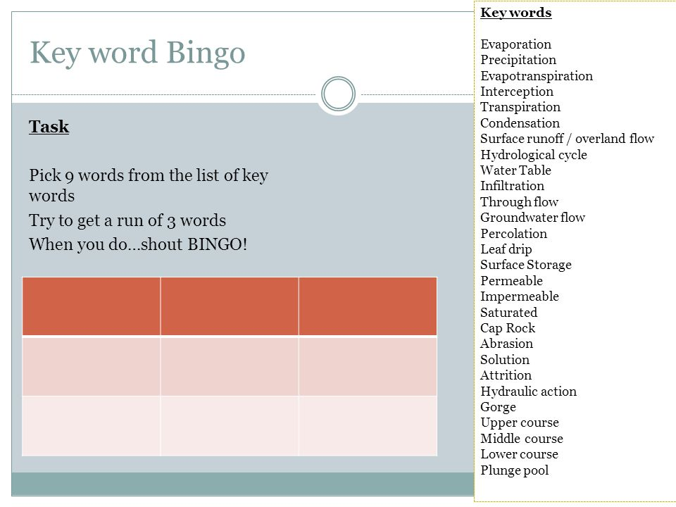 Key word Bingo Task Pick 9 words from the list of key words Try to get a run of 3 words When you do…shout BINGO.