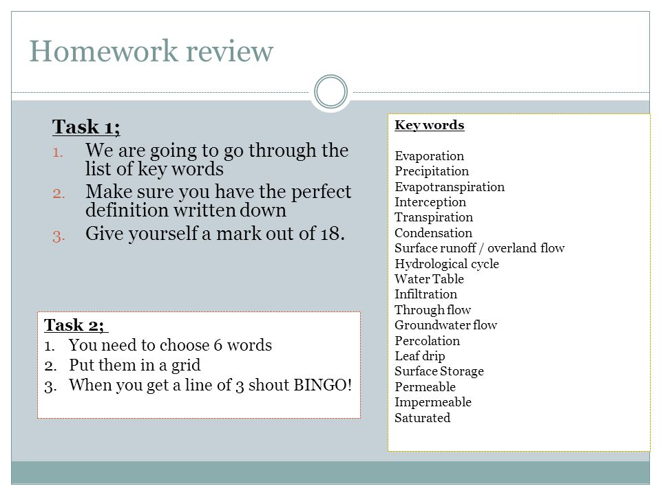 Homework review Task 1; 1. We are going to go through the list of key words 2.
