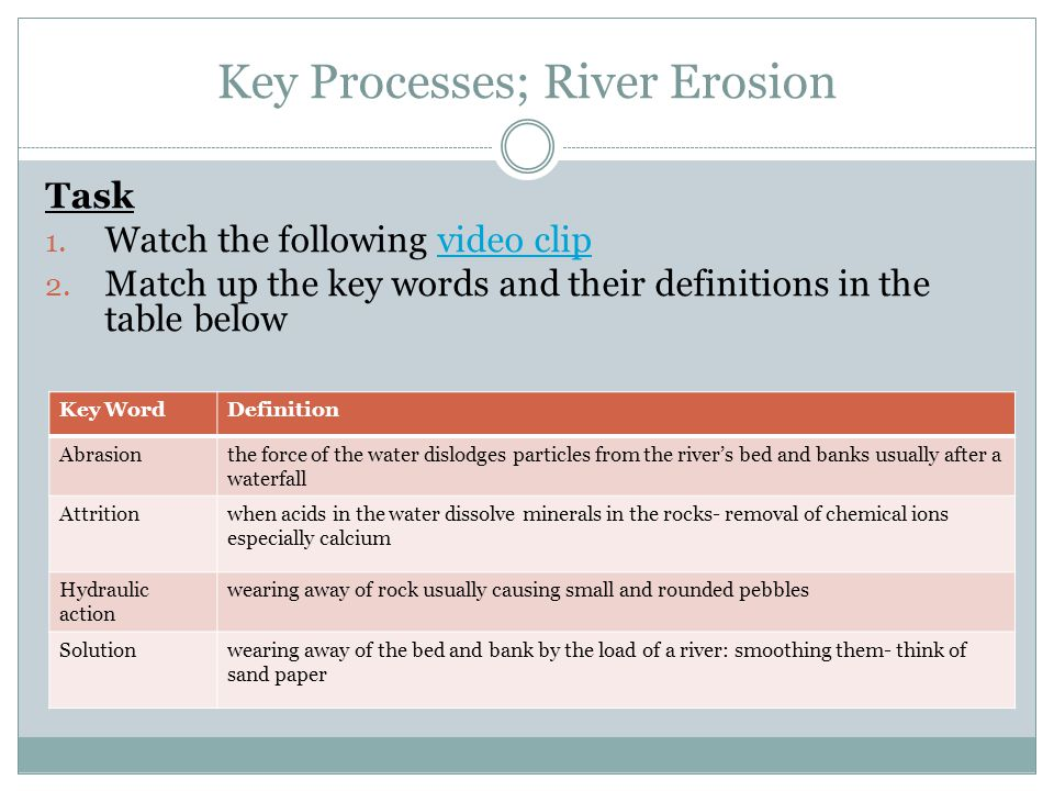 Key Processes; River Erosion Task 1. Watch the following video clipvideo clip 2.