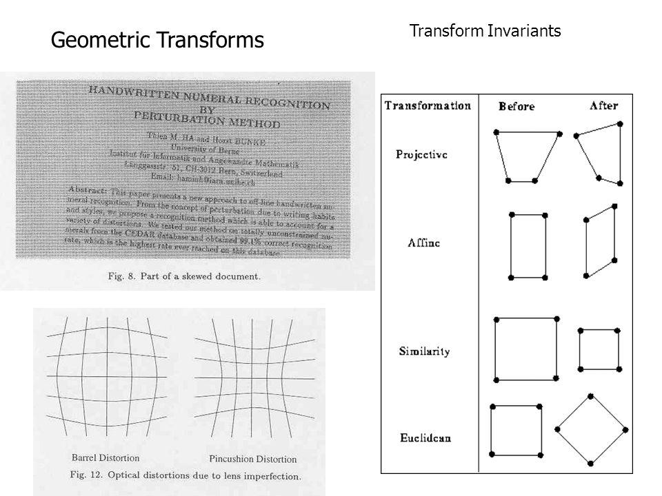 Geometric Transforms Transform Invariants
