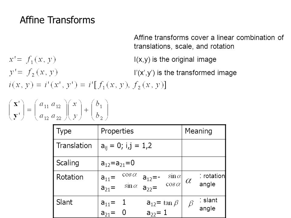 Affine transforms cover a linear combination of translations, scale, and rotation I(x,y) is the original image I'(x',y') is the transformed image Affine Transforms TypePropertiesMeaning Translationa ij = 0; i,j = 1,2 Scalinga 12 =a 21 =0 Rotationa 11 = a 12 =- a 21 = a 22 = Slanta 11 = 1 a 12 = a 21 = 0 a 22 = 1 : rotation angle : slant angle