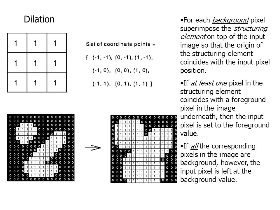 Dilation For each background pixel superimpose the structuring element on top of the input image so that the origin of the structuring element coincid