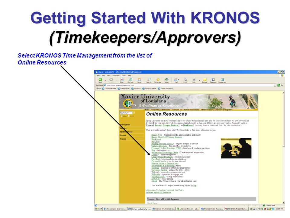 Getting Started With KRONOS (Timekeepers/Approvers) Select KRONOS Time Management from the list of Online Resources