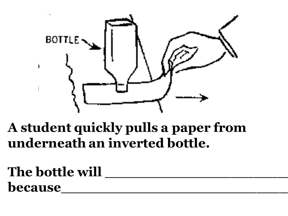 A student quickly pulls a paper from underneath an inverted bottle.
