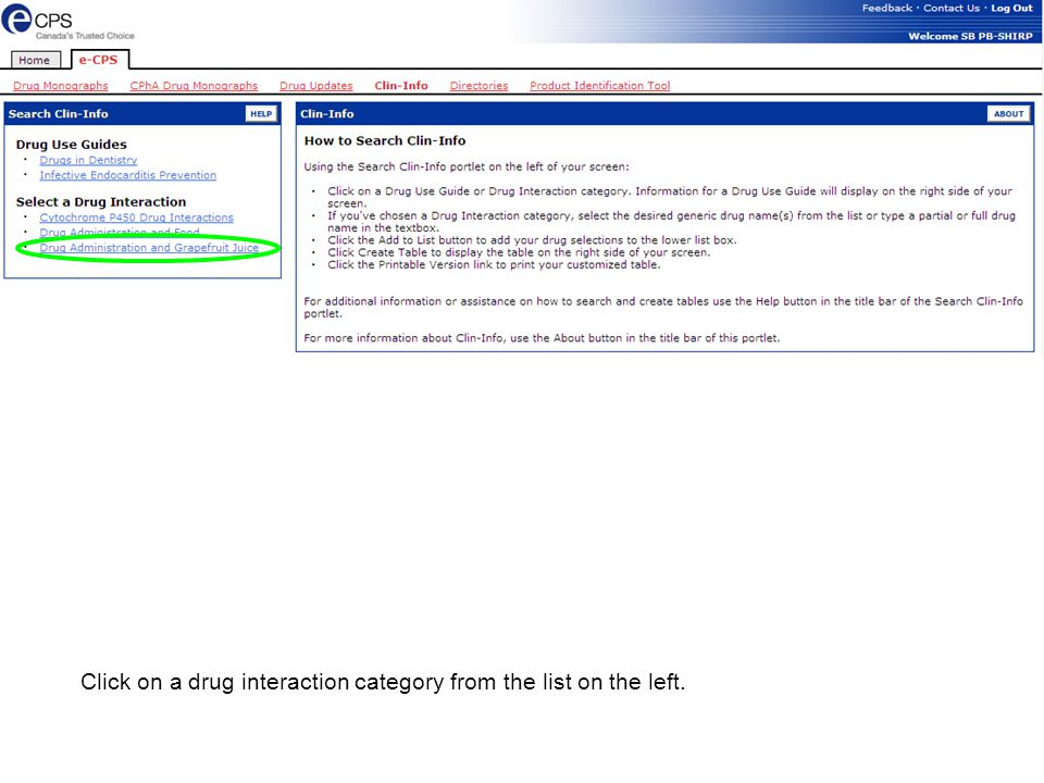 Click on a drug interaction category from the list on the left.
