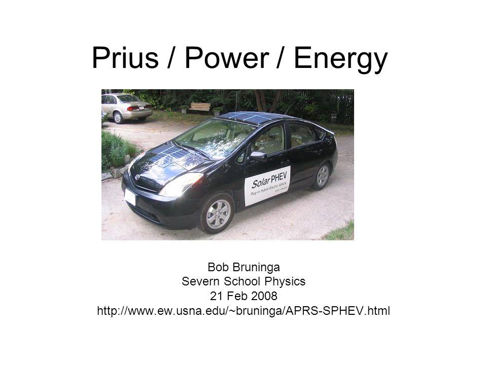Prius / Power / Energy Bob Bruninga Severn School Physics 21 Feb 2008 http://www.ew.usna.edu/~bruninga/APRS-SPHEV.html
