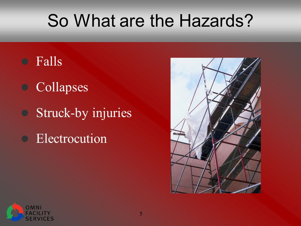 5 So What are the Hazards Falls Collapses Struck-by injuries Electrocution