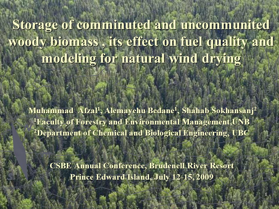1 Storage of comminuted and uncommunited woody biomass, its effect on fuel quality and modeling for natural wind drying Muhammad Afzal 1, Alemayehu Bedane 1, Shahab Sokhansanj 2 Muhammad Afzal 1, Alemayehu Bedane 1, Shahab Sokhansanj 2 1 Faculty of Forestry and Environmental Management,UNB 2 Department of Chemical and Biological Engineering, UBC CSBE Annual Conference, Brudenell River Resort Prince Edward Island, July 12-15, 2009