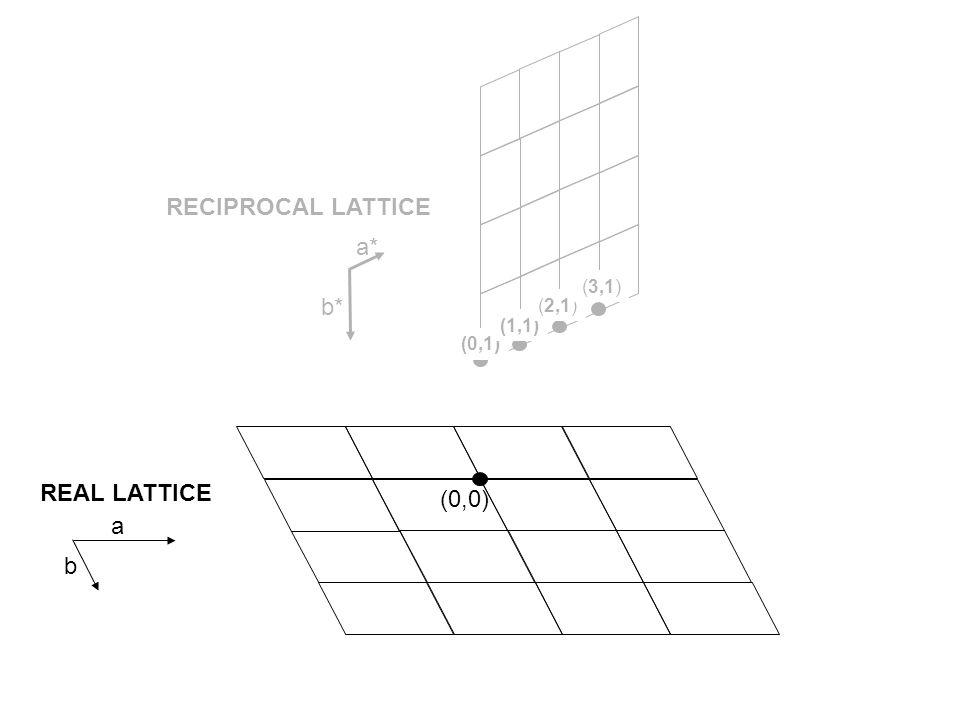 (0,1) planes (0,0) RECIPROCAL LATTICE (0,1) (1,1) (2,1) (3,1) a* b* REAL LATTICE a b length=1/d 0,1