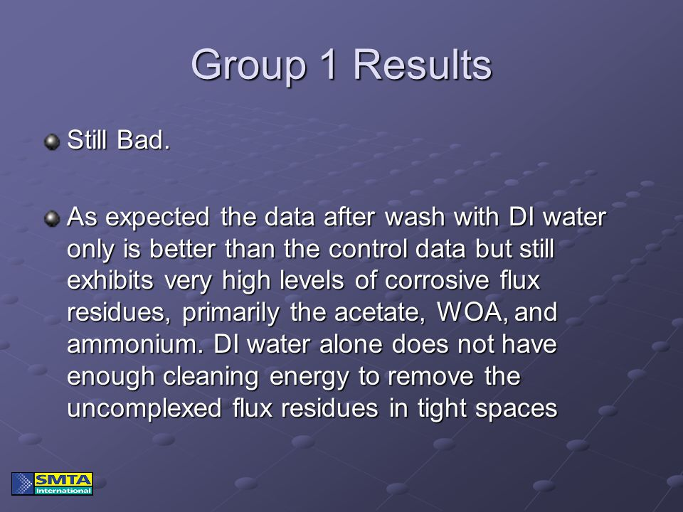 Group 1 Results Still Bad. As expected the data after wash with DI water only is better than the control data but still exhibits very high levels of c