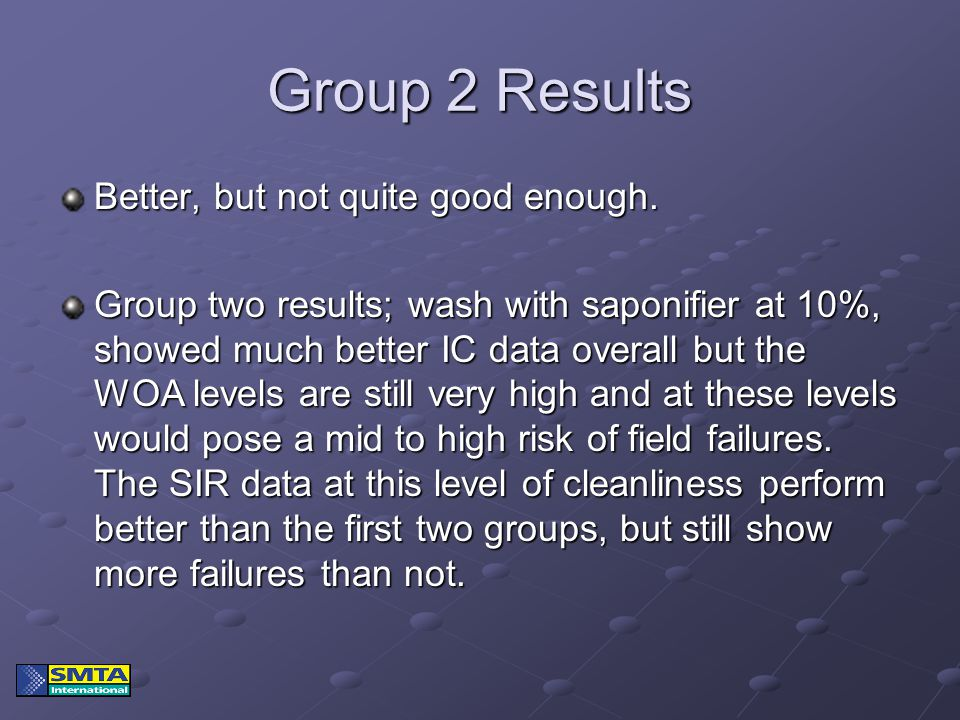 Group 2 Results Better, but not quite good enough. Group two results; wash with saponifier at 10%, showed much better IC data overall but the WOA leve