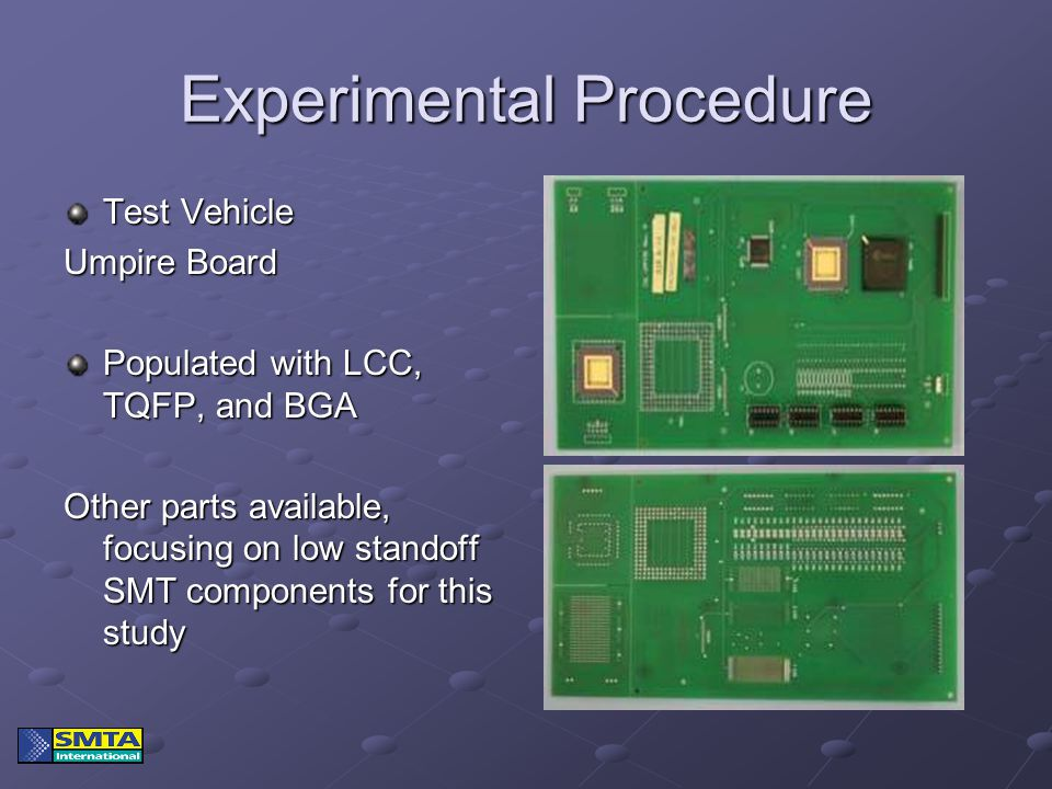 Experimental Procedure Test Vehicle Umpire Board Populated with LCC, TQFP, and BGA Other parts available, focusing on low standoff SMT components for