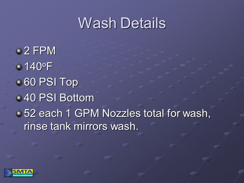 Wash Details 2 FPM 140 o F 60 PSI Top 40 PSI Bottom 52 each 1 GPM Nozzles total for wash, rinse tank mirrors wash.