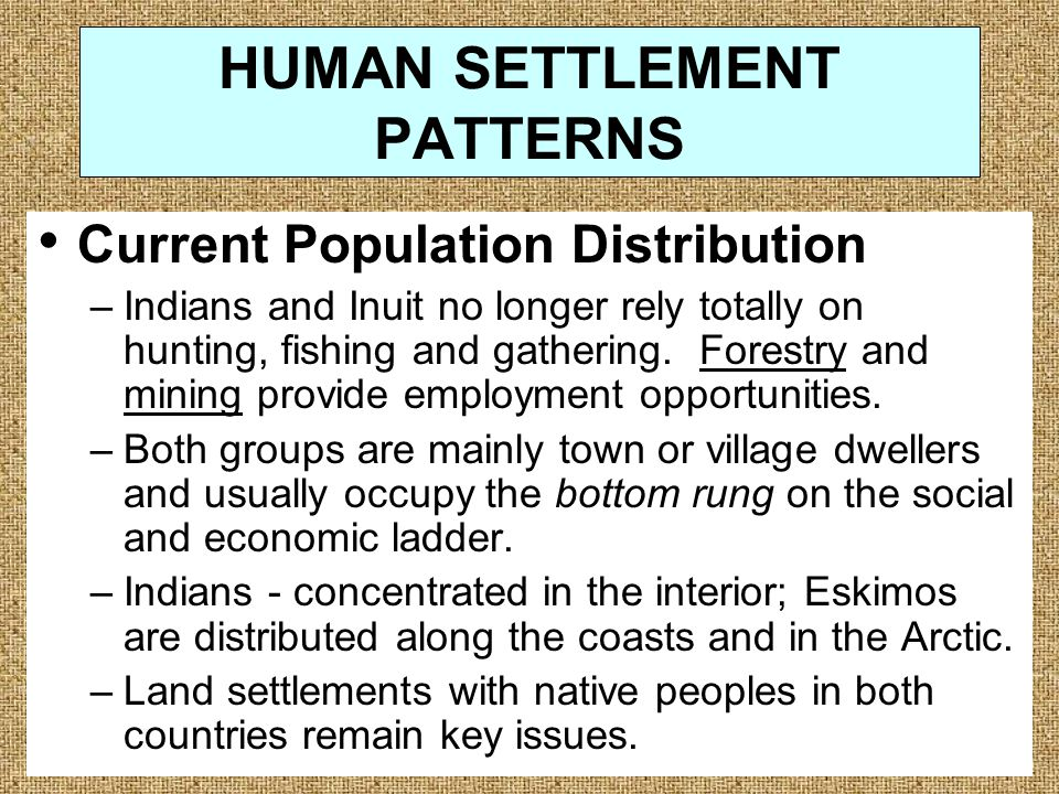 HUMAN SETTLEMENT PATTERNS Current Population Distribution –Indians and Inuit no longer rely totally on hunting, fishing and gathering.