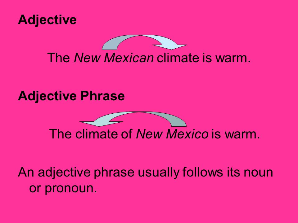 Adjective The New Mexican climate is warm. Adjective Phrase The climate of New Mexico is warm. An adjective phrase usually follows its noun or pronoun