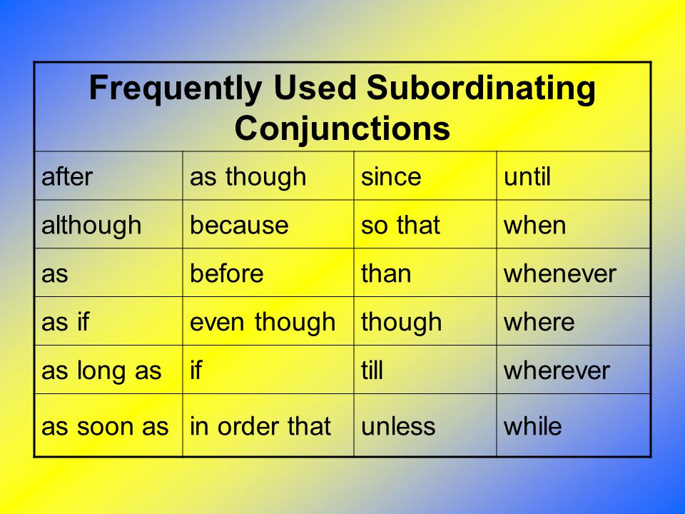 Frequently Used Subordinating Conjunctions afteras thoughsinceuntil althoughbecauseso thatwhen asbeforethanwhenever as ifeven thoughthoughwhere as lon