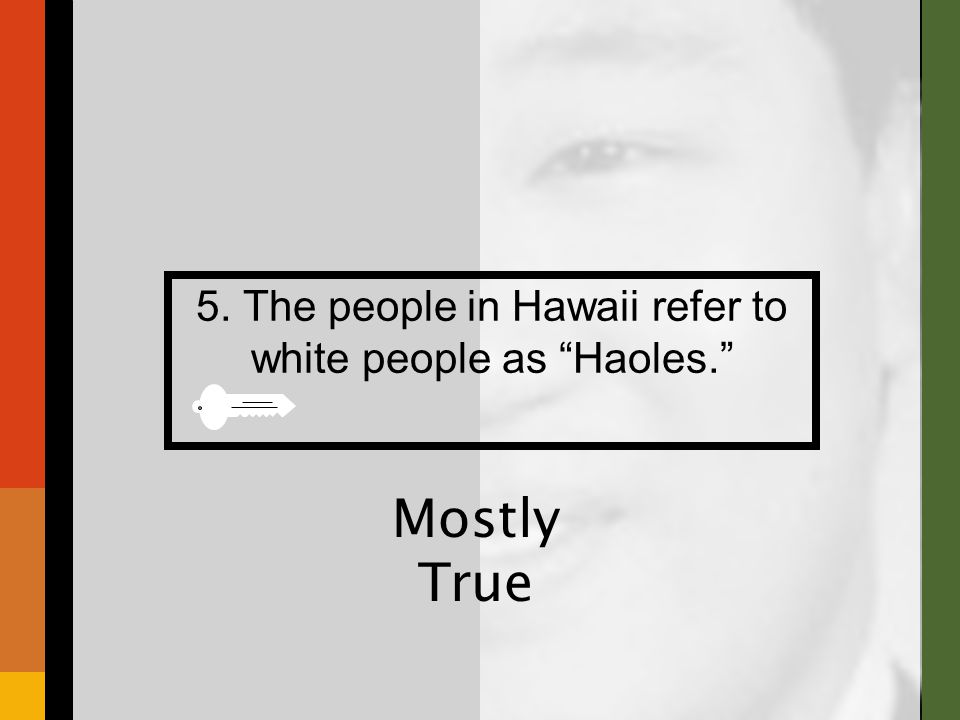 5. The people in Hawaii refer to white people as Haoles. Mostly True