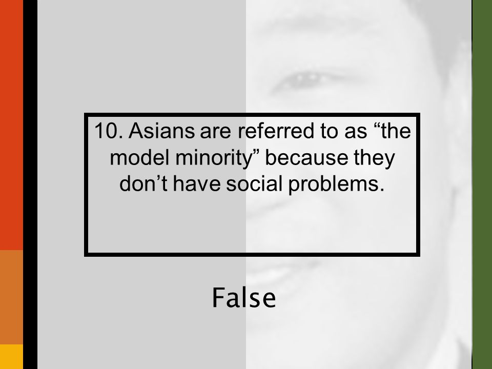 "10. Asians are referred to as ""the model minority"" because they don't have social problems. False"