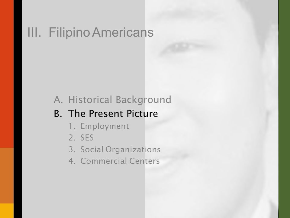 A.Historical Background B.The Present Picture 1.Employment 2.SES 3.Social Organizations 4.Commercial Centers III.